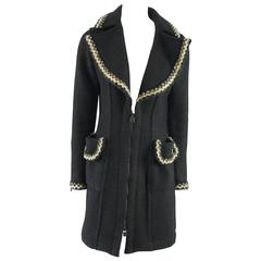 Chanel Black Wool Blend 3/4 Coat with Beige Trim - 36
