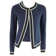 Chanel Navy Cashmere Sweater Set with Black and White Trim - 38