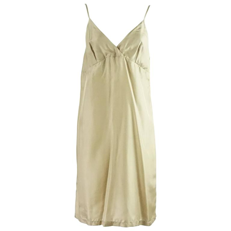 236630ec5d Dries Van Noten Taupe Silk Slip Dress - 42 For Sale at 1stdibs