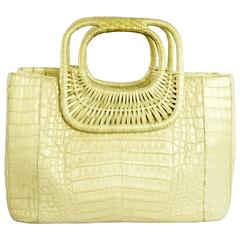 Nancy Gonzalez Gold Crocodile Bag with Woven Wood Handles