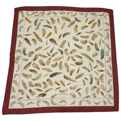 "Hermes Burgundy and Tan ""Plumes"" Cashmere Silk Scarf"