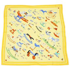 """Hermes Yellow """"Raconte-moi le Cheval..."""" Rocking Horse Print Scarf"""