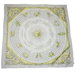 "Hermes Lavender ""Dies et Hore"" Astrology Print Silk Scarf"