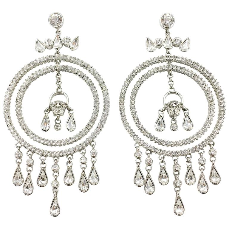 Versace Crystal Embellished Chandelier Earrings with the 'Medusa's Head' For Sale