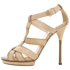 Gucci Leather Platform Sandal With Rose Gold Heel