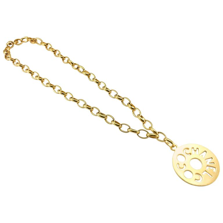 Chanel Chunky Gold-Tone 'Coco Chanel' Disk Pendant Chain Necklace - 1970's 2