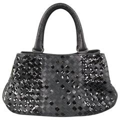BOTTEGA VENETA Black Leather Suede & Patent Intrecciato Handbag