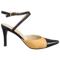 CHANEL Size 7.5 Black & Beige Leather Pointed Cap Toe Ankle Harness Strap Pumps