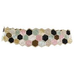 Vintage MATTHEW WILLIAMSON M Beige Black Mint Gold & Pink Beaded Leather Belt