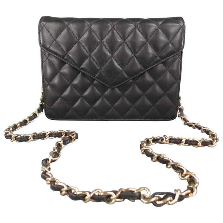 Vintage I.MAGNIN Black Quilted Leather Gold
