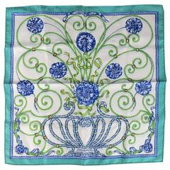 HERMES Turquoise & Navy 'Jouvence' Floral Silk Pocket Square