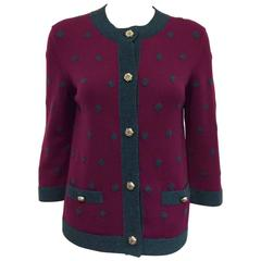 2008 Chanel Deep Magenta Cashmere Cardigan With Slate Polka Dots and Trim