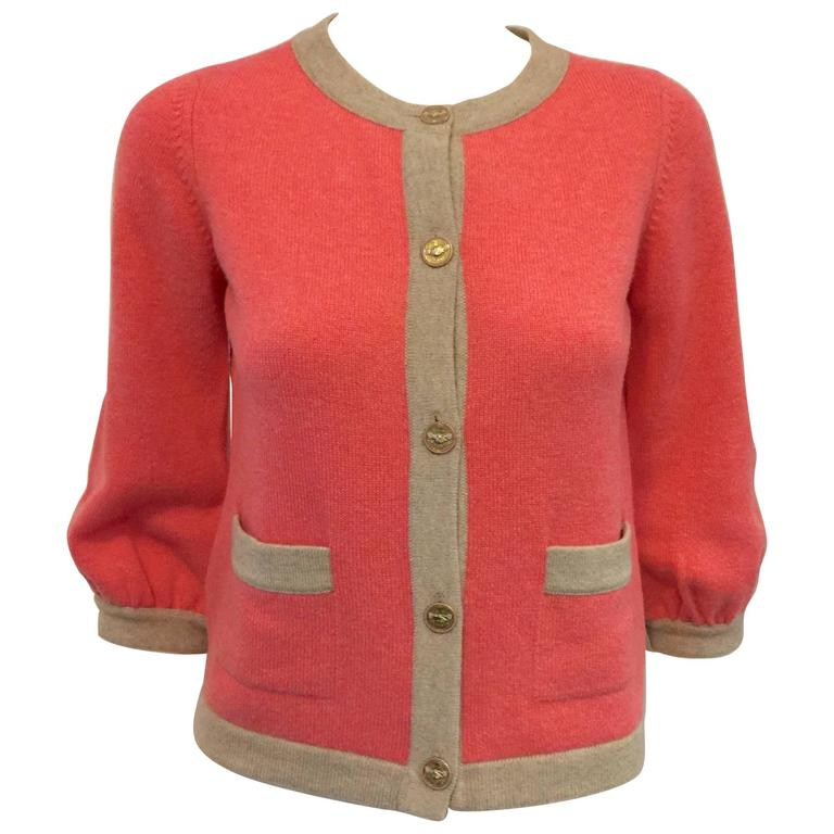 2008 Chanel Melon and Tan Cashmere Cardigan With Gathered Bracelet Sleeves