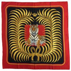 Hermes Royal Red Silk Twill Tigre Royal Scarf by Christiane Vauzelles