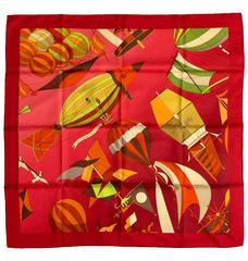 Hermes Deep Red Les Folies du Ciel II Silk Twill Carre by Loic Dubigeon