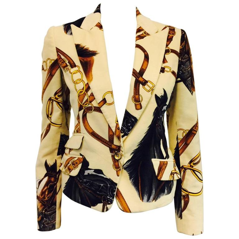 D&G Brushed Cotton Fitted Jacket With Equestrian Print and Leopard Lining