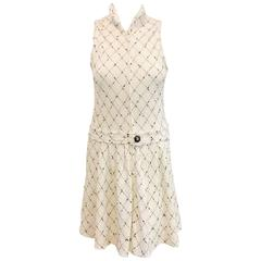 Chanel Spring White Cotton Tweed Sleeveless Dress W Black Diamond Pattern