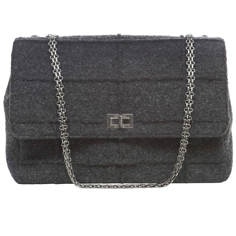 Chanel 2.55 Charcoal Grey Wool Jumbo Flap Bag, Autumn - Winter 1999 1