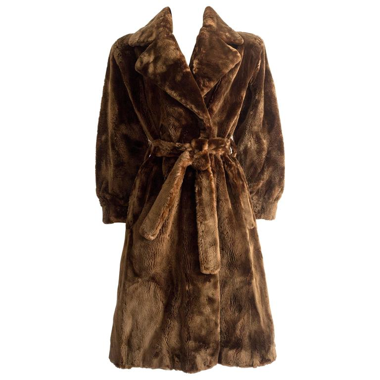 Yves Saint Laurent Haute Couture sheared beaver fur coat, AW 1985