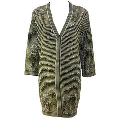 1990's M Missoni Black and Gold Metallic Oversized Knit Cardigan