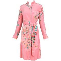 Matthew Williamson Pink Velvet Belted Coat w/Floral Print