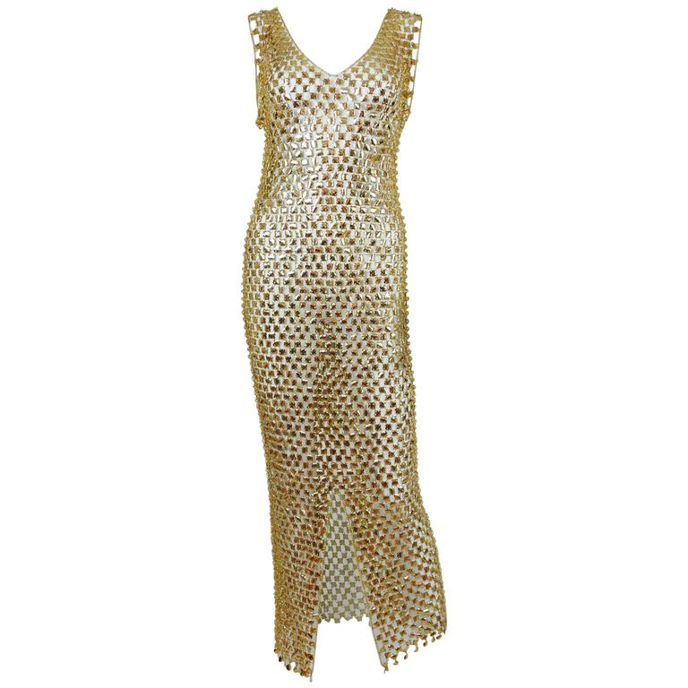 1970s Gold Toned Rhodhoid Chainmail Dress