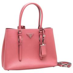 Prada Saffiano Cuir Leather Handbag Tamaris Pink Tote Bag