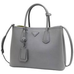 Prada Saffiano Cuir Leather Handbag Marmo Salvia Tote Bag