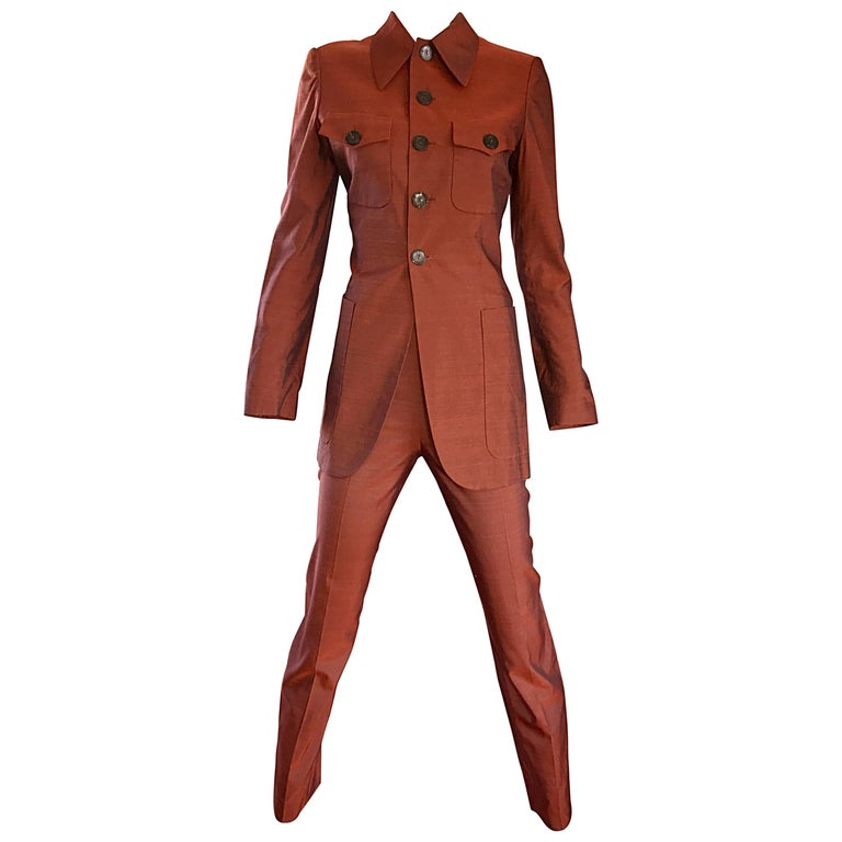Jean Paul Gaultier Early 1990s Vintage Rust Burnt Orange Tailored Cigarette Suit For Sale
