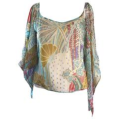 1990s Max Mara Silk Chiffon Cold Shoulder Boho Abstract Print Colorful Blouse