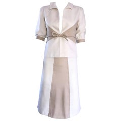 Brand New Valentino NWT $3,600 Ivory + Beige Taupe 2004 Size 4 Silk Skirt Suit