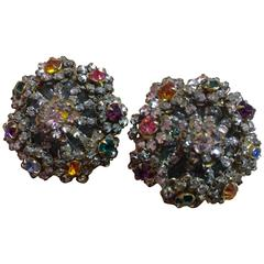 1960s Miriam Haskell Clip Earrings Multicolor Stonework and Montees