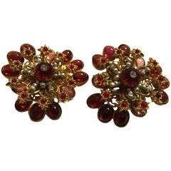 DeLillo Melon Bead Pearl and Cabochon Faux Ruby Clip Back Earrings