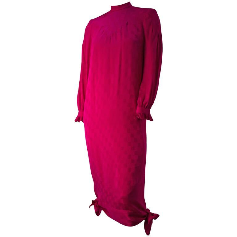 80s Nina Ricci Magenta Silk Jacquard Dress