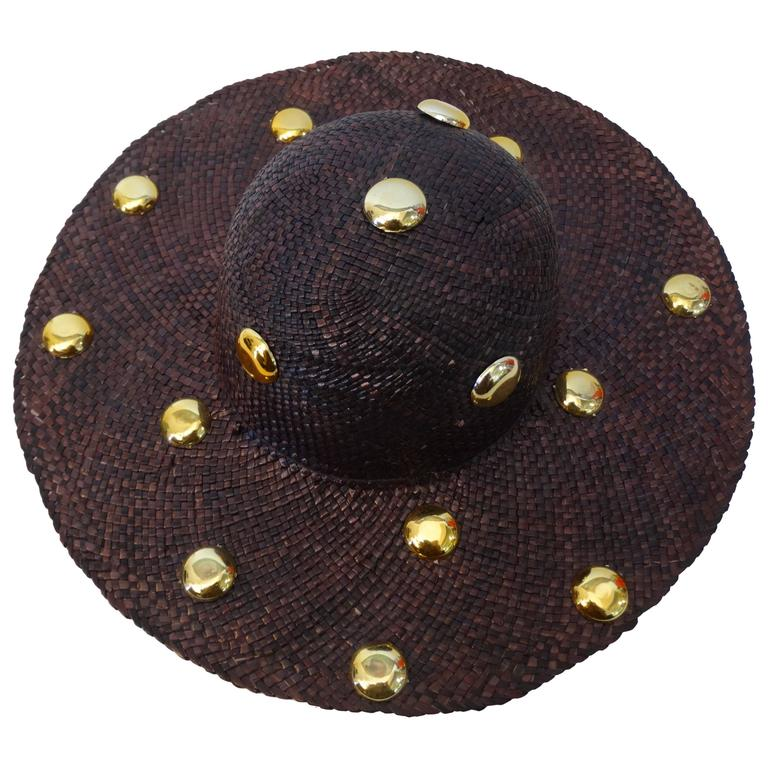 1980's Saks Fifth Avenue Purple Wide Brim Hat with Gold Studs  1