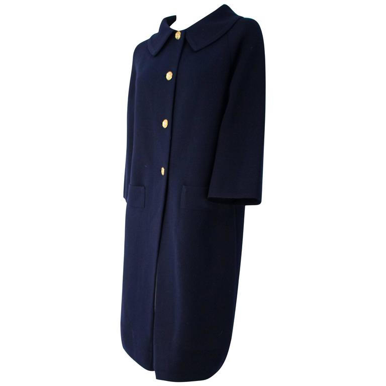 60s I Magnin Navy Blue Knit Coat