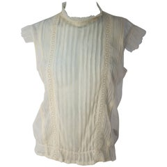 70s Sleeveless Net Blouse with Lace Detail