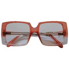 1990s Givenchy See Through Peach Crystal Frame