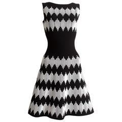 Alaia black and white striped flared dress