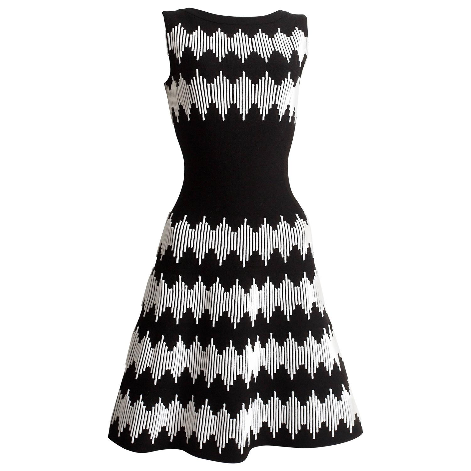 Alaia black and white striped flared dress at 1stdibs