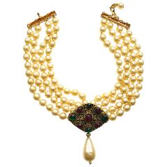Chanel Yellow Baroque Gripoix Pearl