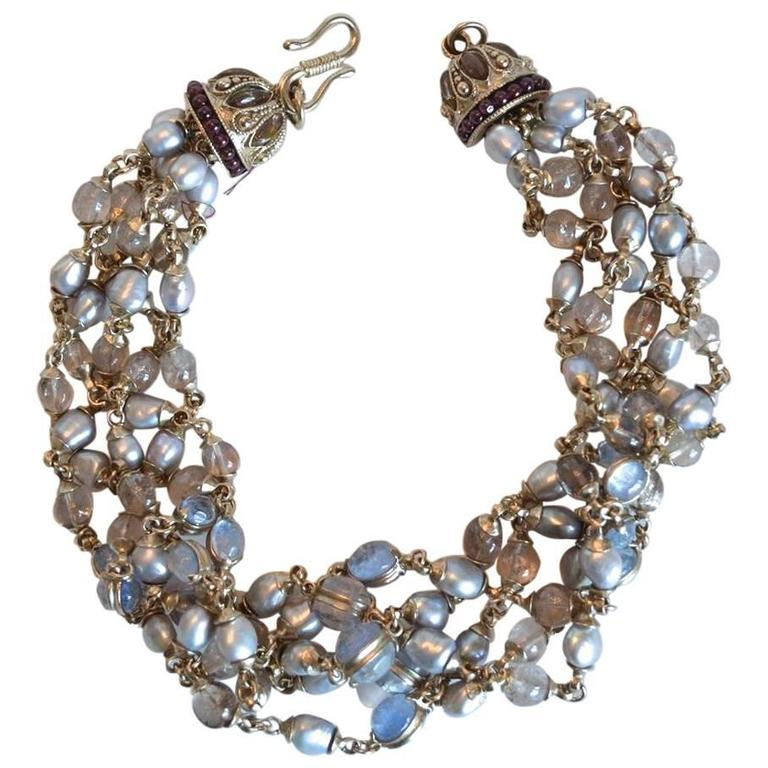 Goossens Paris Blue Pearl and Rock Crystal Crown Necklace 1