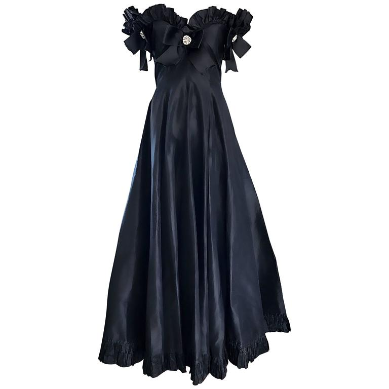Oscar de la Renta Vintage Black Silk Taffeta Off Shoulder Evening Gown Size 6
