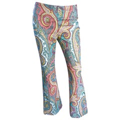 Amazing Carmen Marc Valvo 1990s Fully Beaded Low Rise Paisley Flare Leg Pants