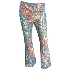 Amazing Carmen Marc Valvo 1990s Fully Beaded Low Rise Paisley Flare Leg Pants