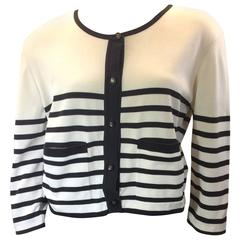 Chanel Boutique Black and White Striped Cardigan