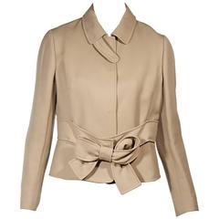 Tan Valentino Bow Coat
