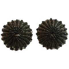 1970s William deLillo Seed bead Hematite and Silvertone Clip on Earrings