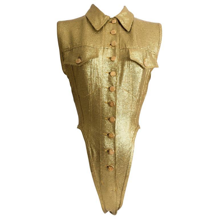 Jean Paul Gaultier metallic gold lurex button up leotard, SS 1989