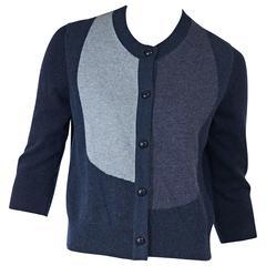 Blue Chanel Three-Quarter Sleeve Cardigan